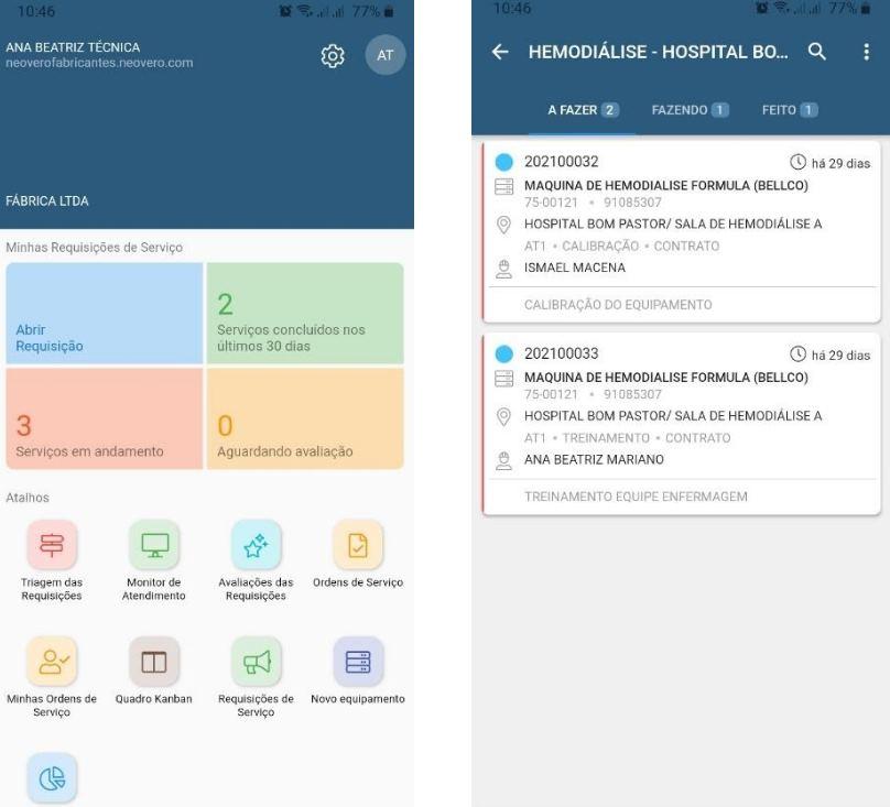 Quadro Kanban na versão mobile do Neovero